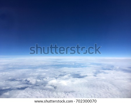 blue sky view from plane. sky wallpaper with space for your text