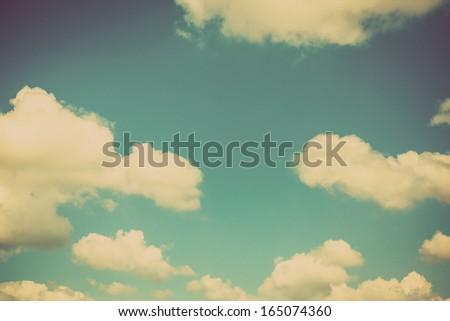 Blue sky vintage background - stock photo