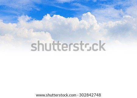 Blue sky , white clouds , background, ?. For retouching a white sky . - stock photo