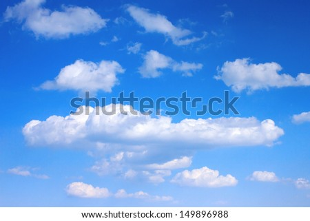 Blue sky white clouds, perfect day - stock photo