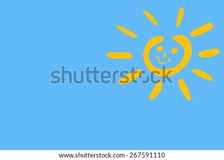 blue sky white yellow sun - stock photo