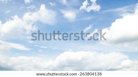 blue sky with cloud closeup - stock photo
