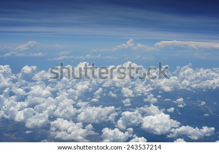 blue sky with cloud from airplane