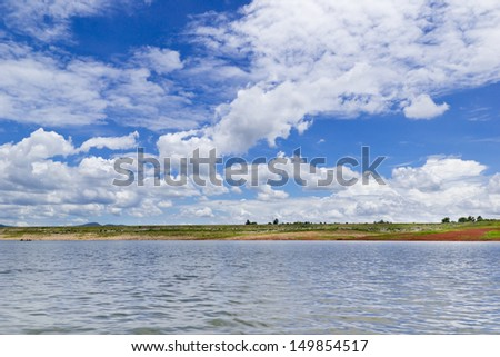 Blue sky with cloud  over Lake on summer