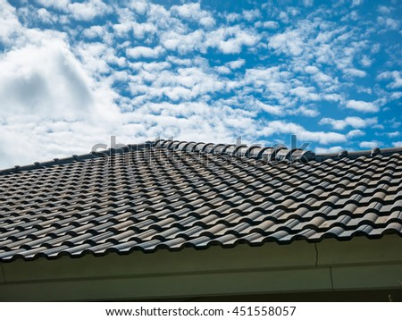 blue sky with cloud over the house roof