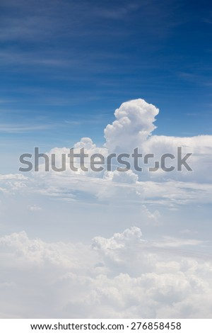 Blue sky with clouds Aerial Bird eye view. View from the top - stock photo