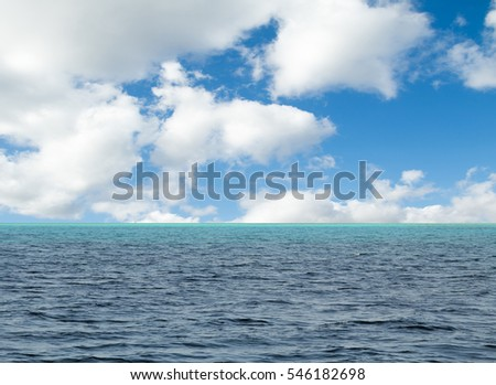 blue sky with clouds and sea