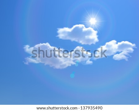 Blue sky with clouds and sun. Raster version. - stock photo