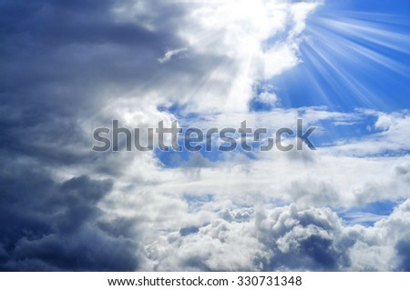 Blue sky with clouds before the storm. - stock photo
