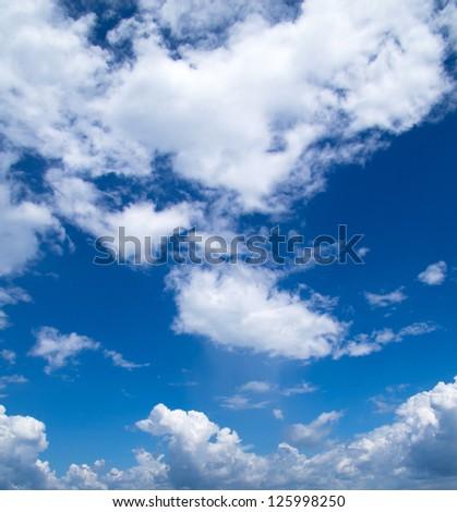 blue sky with clouds closeup - stock photo