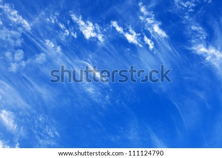 Blue sky with clouds feather - stock photo
