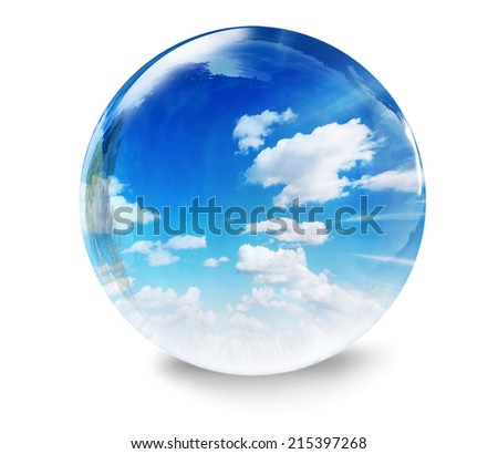 blue sky with clouds glass bubble - stock photo