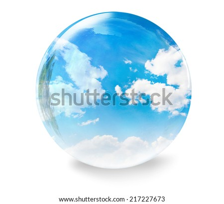blue sky with clouds glass bubble