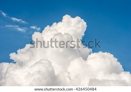 Blue sky with clouds in nice weather - stock photo