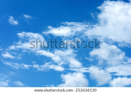 blue sky with clouds in summer - stock photo