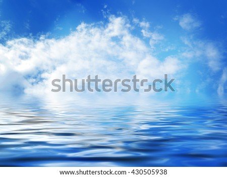 Blue sky with clouds reflected in the water, nature background