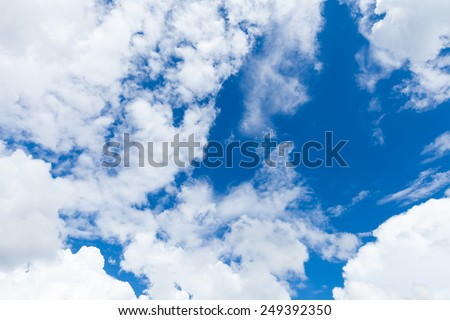 Blue sky with clouds, sky daylight, natural sky composition - stock photo