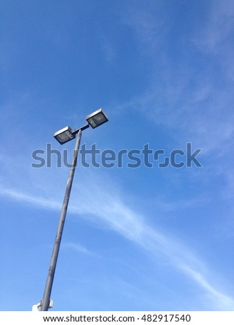 Blue sky with electric pole