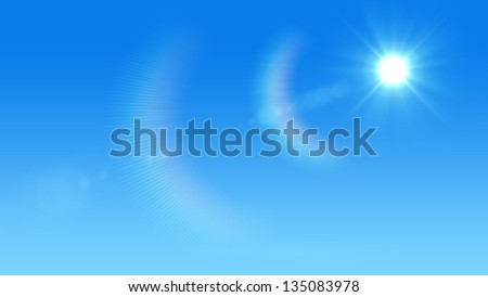 Blue sky with glaring sun