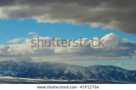 Blue sky with snow