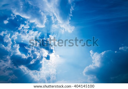 blue sky with sun and beautiful clouds  - stock photo