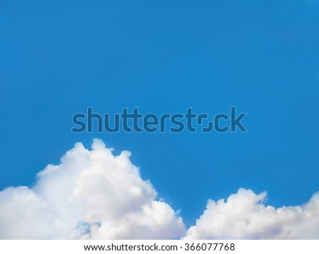 blue sky with sun and beautiful clouds, add text on sky. - stock photo