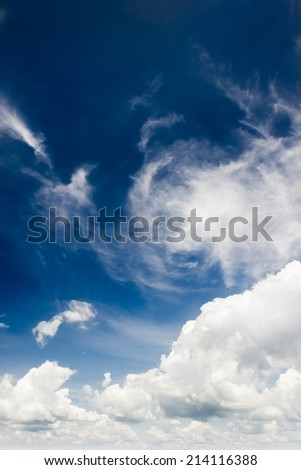Blue sky with sun and white clouds background