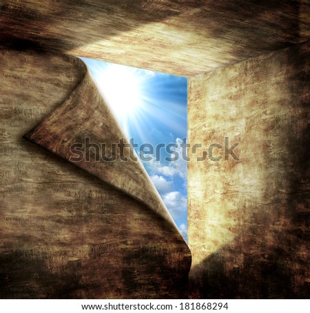 Blue sky with sunlight through the hole in stone room. Concept for hope, aspirations,freedom and discover success for business. - stock photo