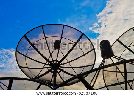 Blue sky with the Satellite dish group - stock photo