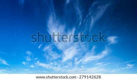 Blue sky with white cirrus clouds - stock photo