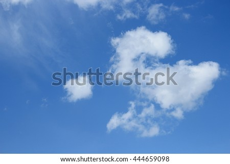 blue sky with white cloud Colorful vivid beautiful nature  - stock photo