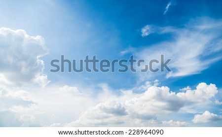 Blue sky  with white sun light look like from heaven - stock photo