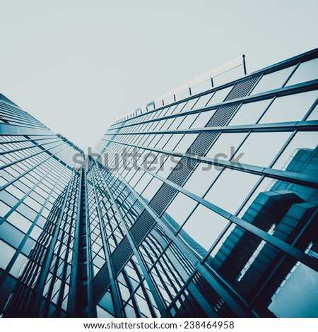 Blue skyscraper facade. office buildings. modern glass silhouettes of skyscrapers - stock photo