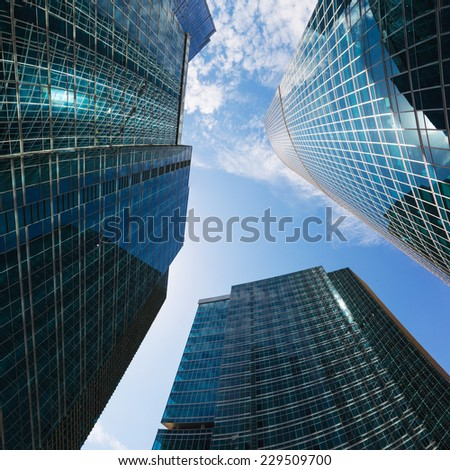 Blue Skyscrapers on sky background in Moscow, Russia - stock photo