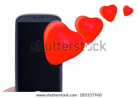 Blue smartphone and red heart balloons. Idea for Valentines Day calls, love, lovers, love apps, Internet, blogs and others. - stock photo