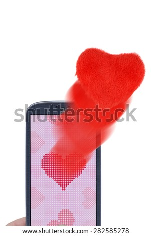 Blue smartphone and soft hearts. Idea for Valentines Day messages, love, lovers, love apps, Internet, blogs and others. - stock photo