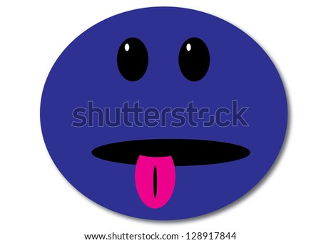 Blue Smiley Face with Tongue Sticking Out - stock photo