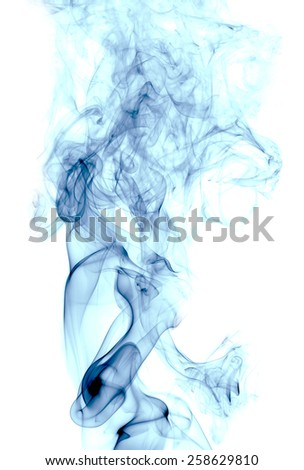 blue Smoke on white background - stock photo