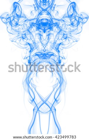 Blue smoke on white background, blue ink background, movement of blue smoke