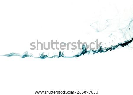 Blue smoke trail isolated on white - stock photo
