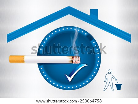 Blue Smoking allowed sticker for print, containing a realistic cigarette under a roof sign and a sign with a basket trash can for keeping the environment clean; metallic background. Print colors used - stock photo