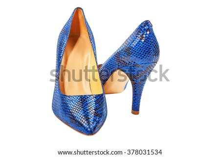 Blue snakeskin high heel women shoes isolated on white. - stock photo