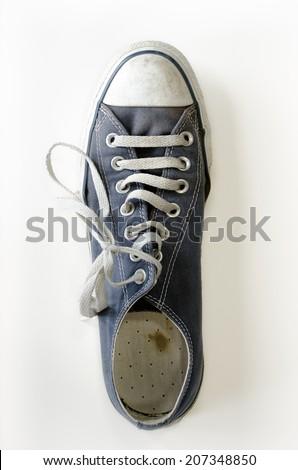 blue sneaker on white background - stock photo