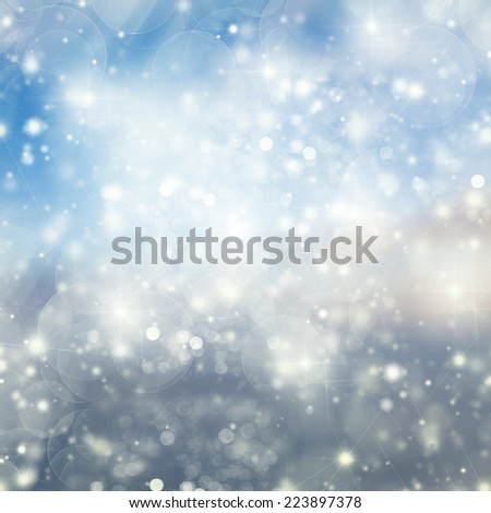Blue Snow and Lights Festive background with light beams - stock photo