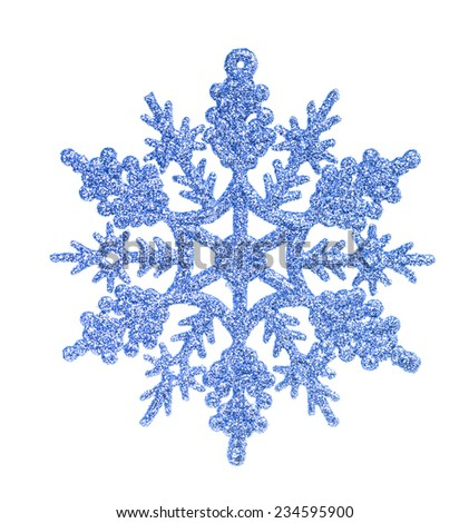 Blue snowflake isolated on the white - stock photo