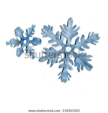 blue Snowflakes  paper isolated on a white background, Origami. watercolor