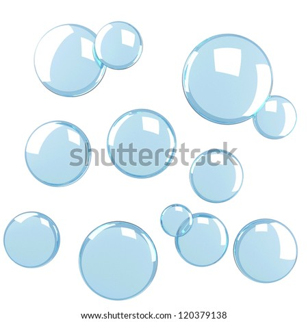 Blue soap bubbles isolated at white background
