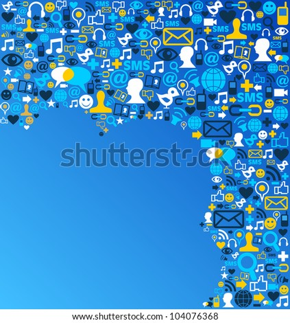 Blue social media icons set in cloud shape layout. - stock photo