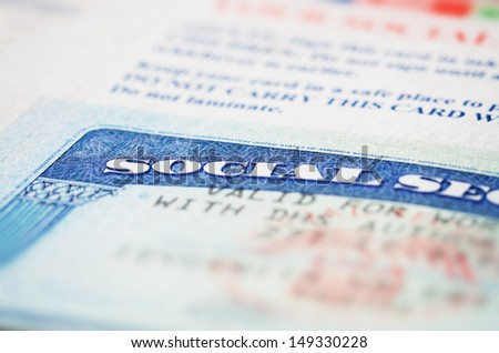 Blue social security card macro shot