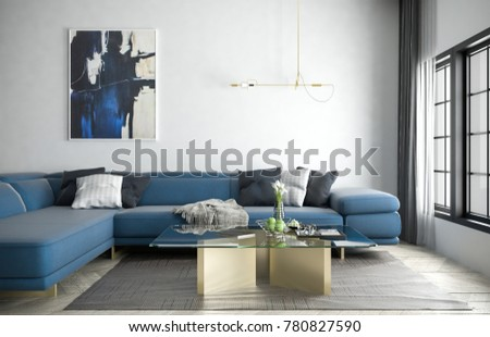 Blue Sofa And Carpet In White Simple Living Room, 3D Rendering, 3D  Illustration